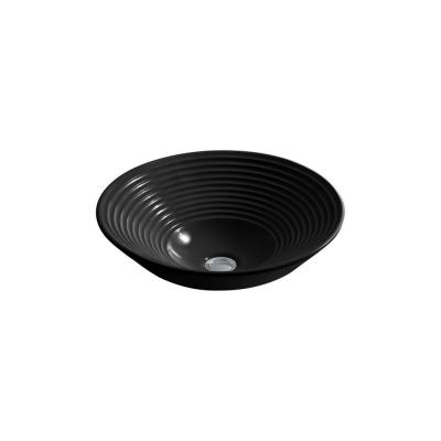 Turnings Vitreous China Vessel Sink in Black Product Photo