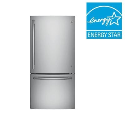 GE 33 in. W 24.9 cu. ft. Bottom Freezer Refrigerator in Stainless Steel