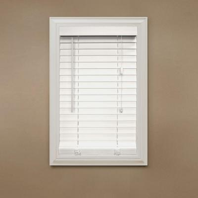 Cut to Width White 2 in. Faux Wood Blind - 32