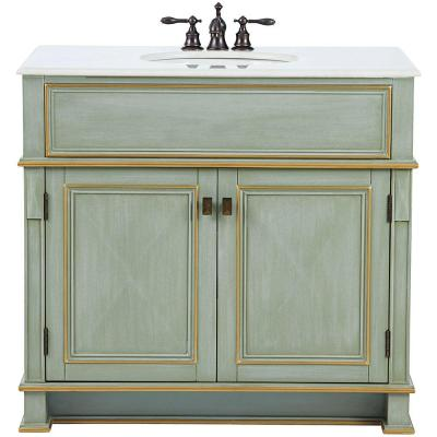 Dinsmore 38 in. W Vanity in Gilded Green with Marble Vanity
