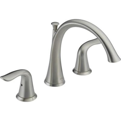 Lahara 2-Handle Deck-Mount Roman Tub Faucet Trim Kit Only in Stainless