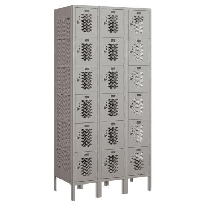 Salsbury Industries 76000 Series 36 in. W x 78 in. H x 18 in. D Six Tier Box Style Vented Metal Locker Assembled in Gray
