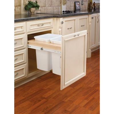 Rev-A-Shelf 18 in. H x 21 in. W x 25 in. D Double 35 Qt. Pull-Out Wood Top Mount Waste Container for 1.625 in. Face Frame Cabinet