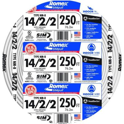 250 ft. 14-2-2 White Soild Cu NM-B Wire