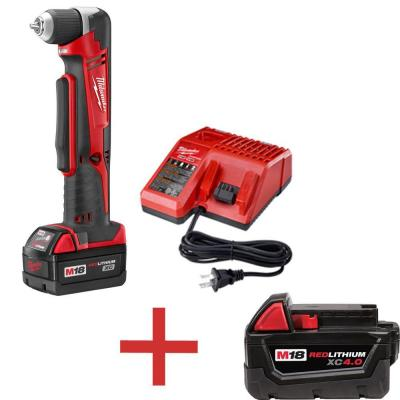 Milwaukee M18 18-Volt Lithium-Ion 3/8 in. Cordless Right Angle Drill XC Battery Kit with Free M18 4.0 Ah XC Battery