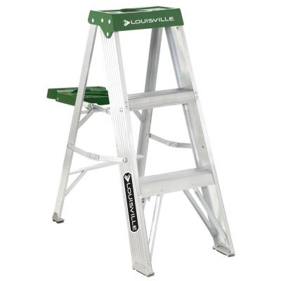 Louisville Ladder 3 ft. Aluminum Step Ladder with 225 lbs. Load Capacity Type II Duty Rating