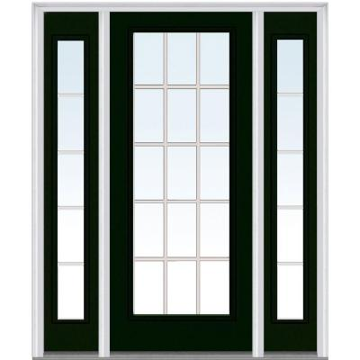 60 in. x 80 in. Classic Clear Glass GBG Full Lite Painted Majestic Steel Prehung Front Door with Sidelites Product Photo
