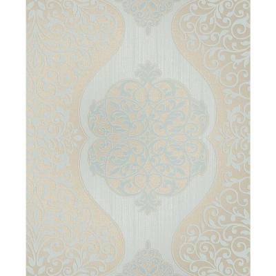 56.4 sq. ft. Energico Blue Medallion Wallpaper Product Photo