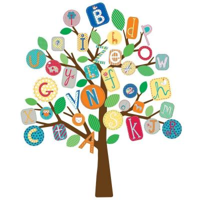 null 27 in. x 40 in. ABC Primary Tree 56-Piece Peel and Stick Giant Wall Decals