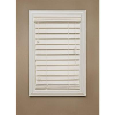 Home Decorators Collection Ivory 2-1/2 in. Premium Faux Wood Blind - 35 in. W x 64 in. L (Actual Size 34.5 in. W x 64 in. L )
