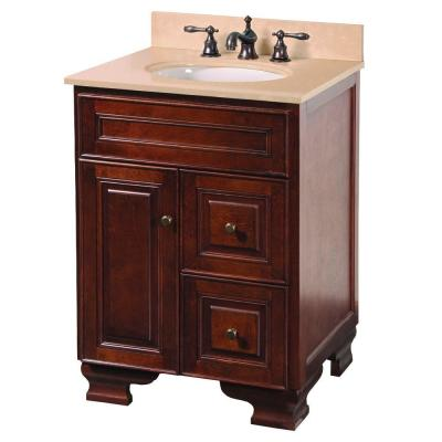 Foremost Hartford 25 In Vanity In Walnut With Vanity Top In Beige And Undermount Sink In White