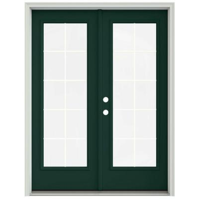 60 in. x 80 in. Hartford Green Prehung Right-Hand Inswing 10 Lite French Patio Door with Brickmould Product Photo