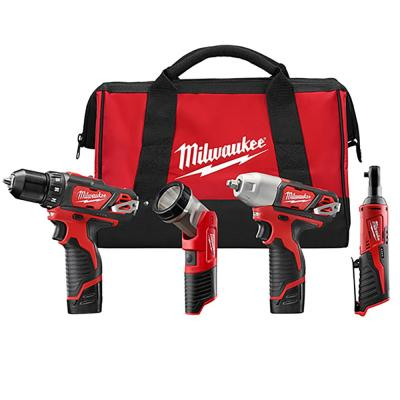 Milwaukee M12 12-Volt Lithium-Ion Cordless Drill Driver/Impact Wrench/Ratchet/Light Combo Kit (4-Tool)