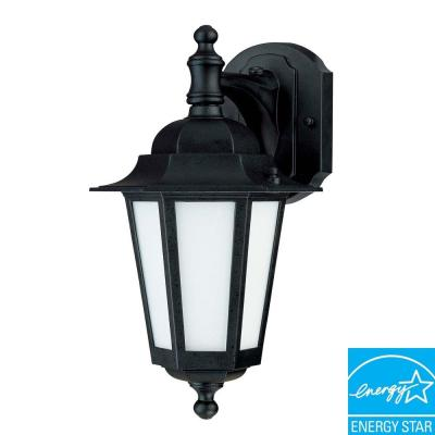 Green Matters 1-Light Outdoor Textured Black CFL Wall Lantern with Satin White Glass