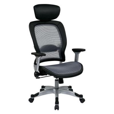 Air Grid Fabric Back and Seat Office Chair in Black and Grey Product Photo