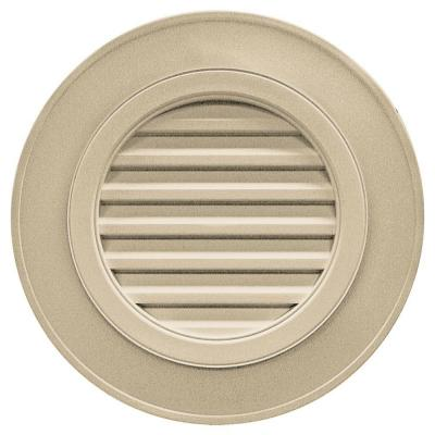 28 in. Round Gable Vent in Light Almond (without Keystones) Product Photo