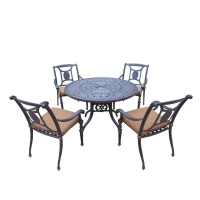 5-Piece Round Cast Aluminum Patio Dining Set with Sunbrella Cushions