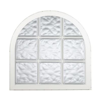 42 in. x 50 in. Acrylic Block Round Top Vinyl Window