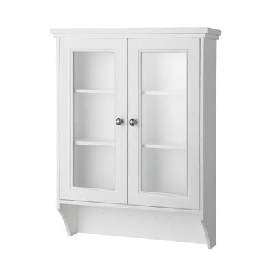 Foremost Gazette 23 1 2 In W Wall Cabinet In White With Glass Door GAWW2431