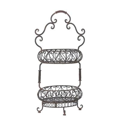 Lenor 16 in. x 31.5 in. 2-Tiered Black Wrought Iron Oval
