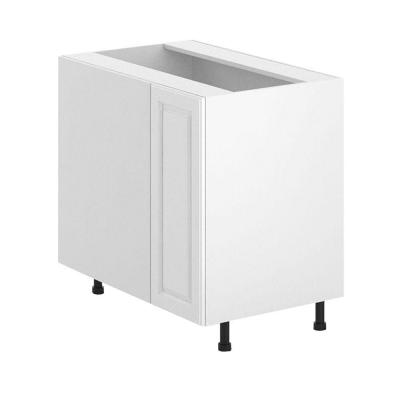 Fabritec 36x34.5x24.5 in. Birmingham Blind Corner Base Cabinet with 1/2 Lazy Susan in White Melamine and Door in White