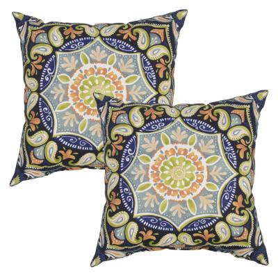 Plantation Patterns Sky Medallion Square Outdoor Throw Pillow 2 Pack