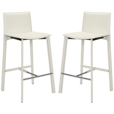 Janet 30 in. Bar Stool in White (Set of 2)