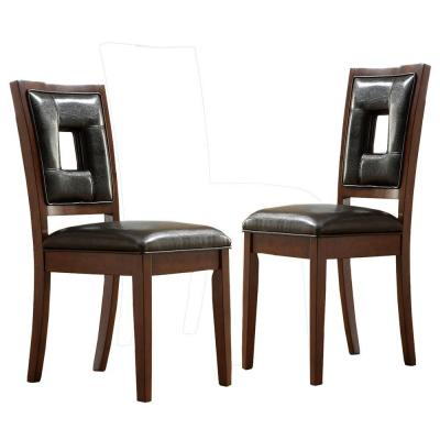 Home Decorators Collection Vinyl Side Chair in Dark Brown (Set of 2)