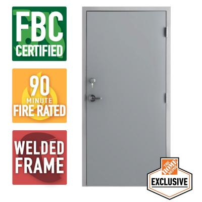 Storm Series Outswing Steel Prehung Commercial Door, 90 Min. Fire Rating, FBC Approved.