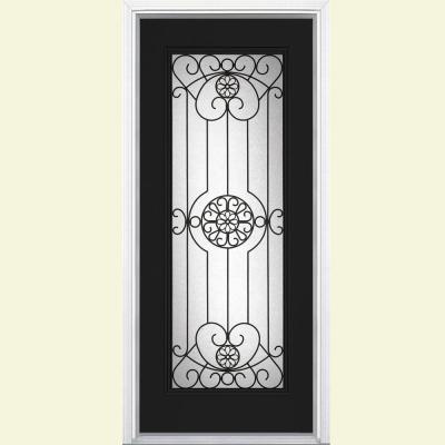 Masonite 36 in. x 80 in. Full Lite Painted Smooth Fiberglass Prehung Front Door with Brickmold