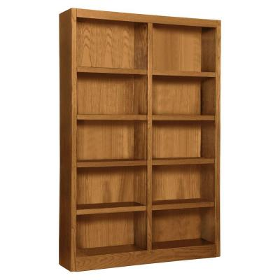 Midas Double Wide 10-Shelf Bookcase in Dry Oak Product Photo