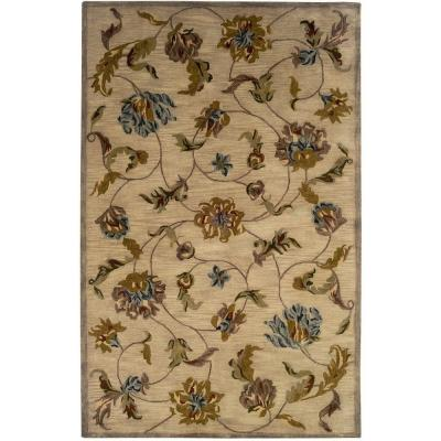 LR Resources Traditional Beige 5 ft. x 7 ft. 9 in. Plush Indoor Area Rug