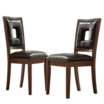 Home Decorators Collection Faux Leather Side Chair with Wooden Frame in Dark Brown (Set of 2)