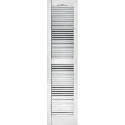 Builders Edge 15 in. x 60 in. Louvered Vinyl Exterior Shutters Pair in #117 Bright White
