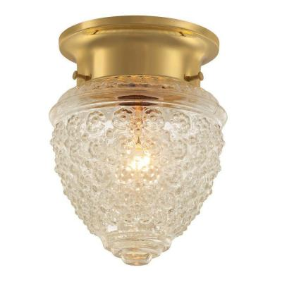1-Light Polished Brass Ceiling Acorn Light Product Photo