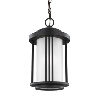 Sea Gull Lighting Crowell Black 1-Light Outdoor Hanging Pendant