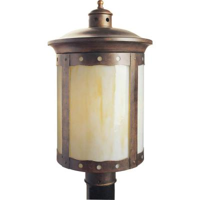 1-Light Rustic Sienna Outdoor Post Light with Honey Glass Shade