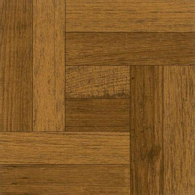 12 in. x 12 in. Oak Parquet Antique Brown Peel and