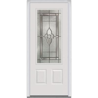 36 in. x 80 in. Master Nouveau Decorative Glass 3/4 Lite 2-Panel Primed White Majestic Steel Prehung Front Door Product Photo