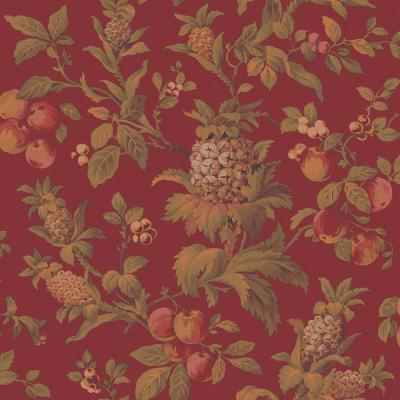 The Wallpaper Company 56 sq. ft. Red Earth Tone Fruit Trail Wallpaper-DISCONTINUED
