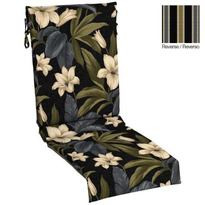Black Tropical Blossom Reversible Sling Outdoor Chair Cushion