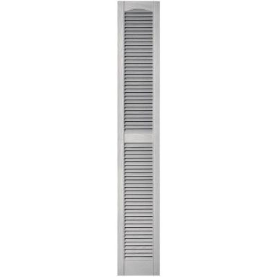 Builders Edge 12 in. x 75 in. Louvered Vinyl Exterior Shutters Pair in #030 Paintable