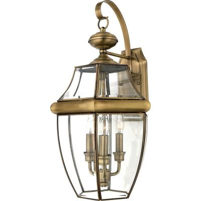 Home Decorators Collection Newbury 3-Light Antique Brass Outdoor Wall Lantern