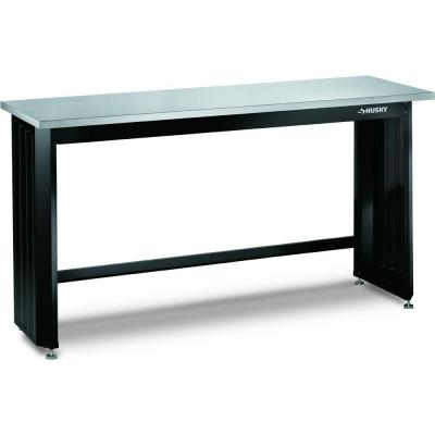 husky 6 ft stainless steel top workbench 72wb01ss thd the home depot. Black Bedroom Furniture Sets. Home Design Ideas