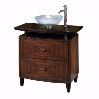 Home Decorators Collection Kyoto 36 in. W x 20.5 in. D Sink Cabinet in Dark Brown with Black Granite Top-DISCONTINUED