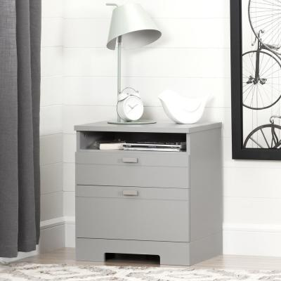 South Shore Reevo 1-Drawer Soft Gray Nightst..