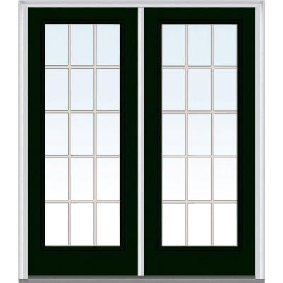 64 in. x 80 in. Classic Clear Glass GBG Full Lite Painted Majestic Steel Double Prehung Front Door Product Photo