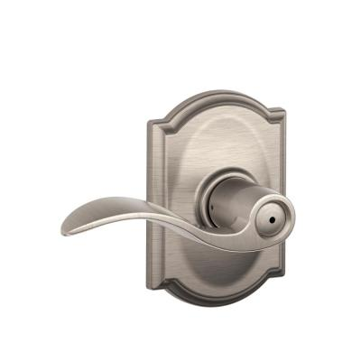 Schlage Camelot Collection Accent Satin Nickel Bed and Bath Lever