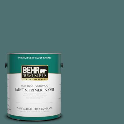 Behr Premium Plus 1 Gal S440 6 Tealish Semi Gloss Enamel Interior Paint 330001 The Home Depot