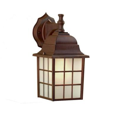 CANARM Colton Outdoor Bronze Wall Lantern with Frosted Glass (2-Pack)